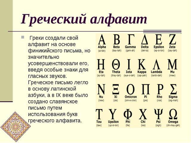 Греческий алфавит Греки создали свой алфавит на основе финикийского письма, н...