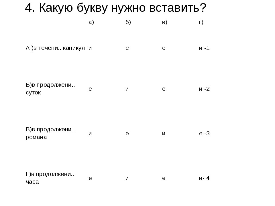 4. Какую букву нужно вставить? а)б)в)г) А )в течени.. каникул иееи -1...