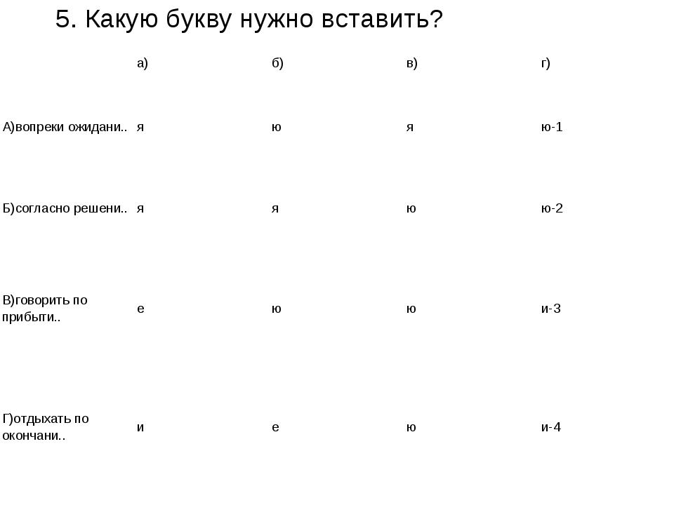 5. Какую букву нужно вставить? а)б)в)г) А)вопреки ожидани.. яюяю-1 Б)...