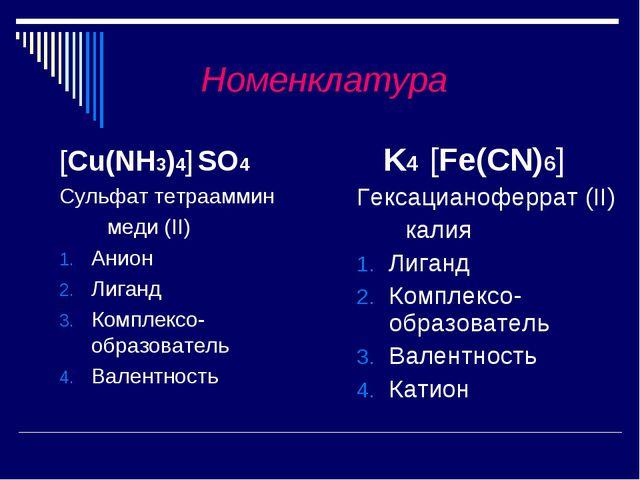 Номенклатура [Cu(NH3)4] SO4 Сульфат тетрааммин меди (II) Анион Лиганд Компле...