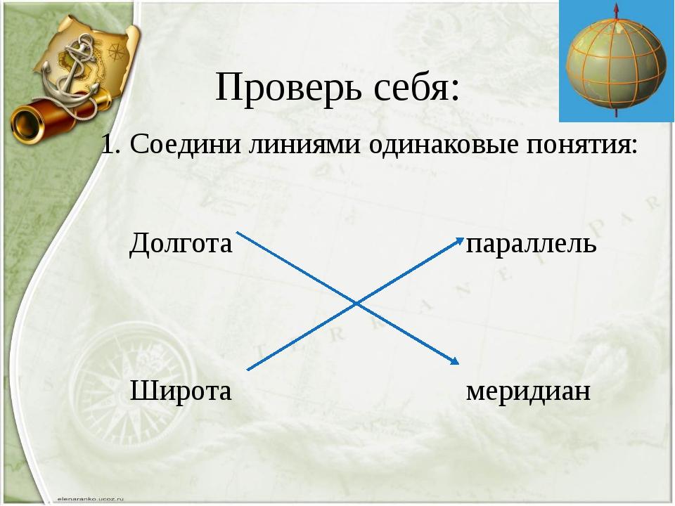 Проверь себя: 1. Соедини линиями одинаковые понятия: Долгота параллель Широта...