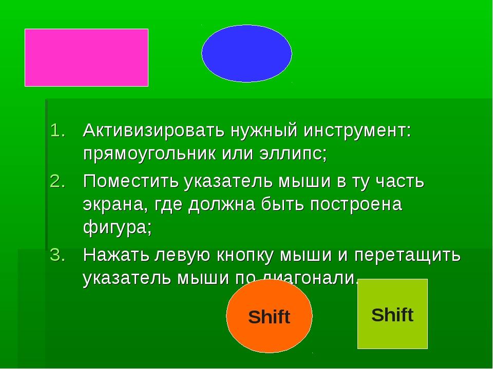 Активизировать нужный инструмент: прямоугольник или эллипс; Поместить указате...