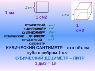КУБИЧЕСКИЙ МИЛЛИМЕТР КУБИЧЕСКИЙ САНТИМЕТР – это объем куба с ребром 1 см КУБ