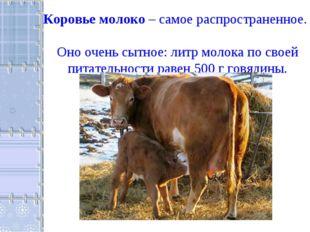 Коровье молоко – самое распространенное. Оно очень сытное: литр молока по сво