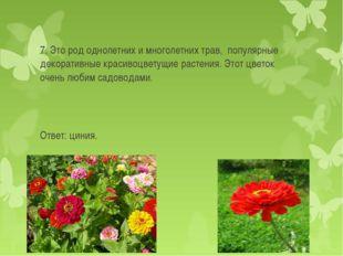 7. Это род однолетних и многолетних трав, популярные декоративные красивоцве