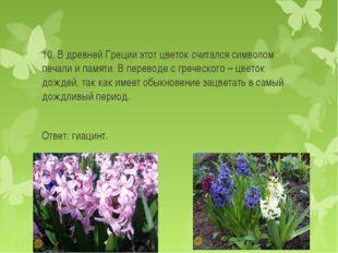 10. В древней Греции этот цветок считался символом печали и памяти. В перевод