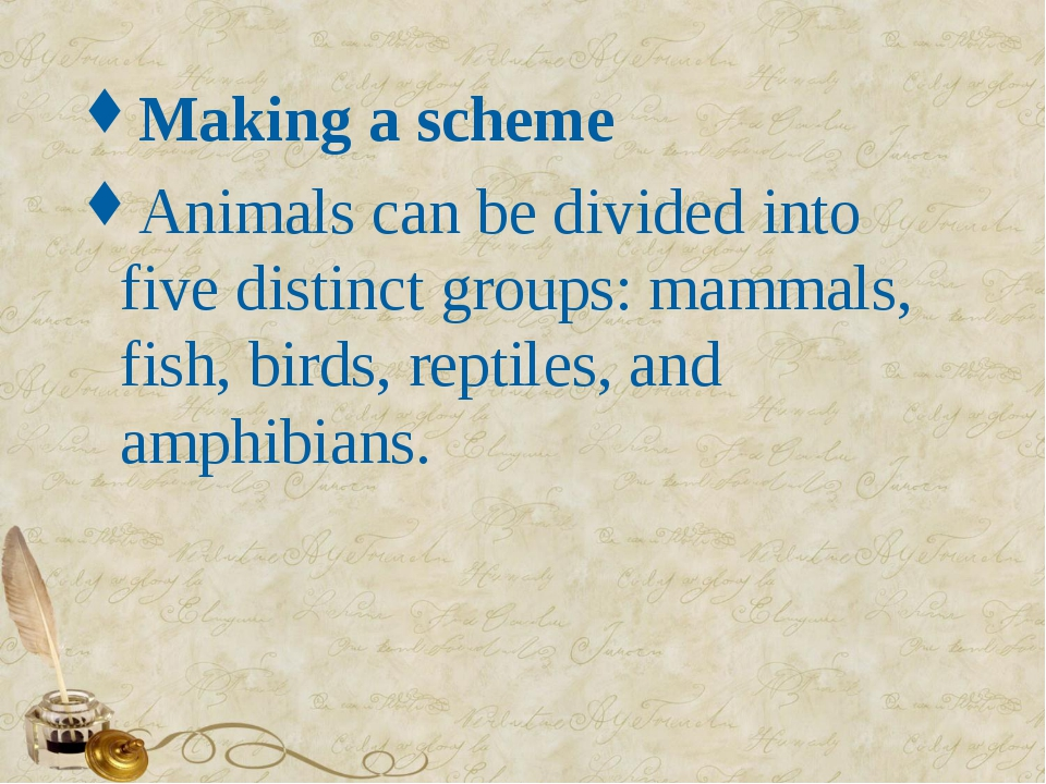 Making a scheme Animals can be divided into five distinct groups: mammals, fi...