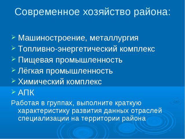 Современное хозяйство района: Машиностроение, металлургия Топливно-энергетиче...