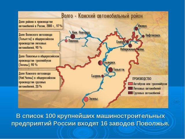 В список 100 крупнейших машиностроительных предприятий России входят 16 завод...