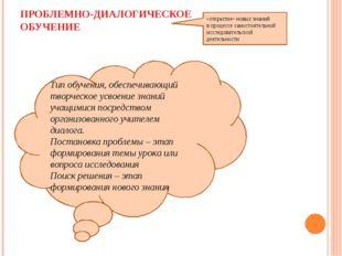 ПРОБЛЕМНО-ДИАЛОГИЧЕСКОЕ ОБУЧЕНИЕ «открытие» новых знаний в процессе самостоят