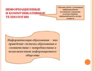 ИНФОРМАЦИОННЫЕ И КОММУНИКАТИВНЫЕ ТЕХНОЛОГИИ Обучение работе с различными инфо