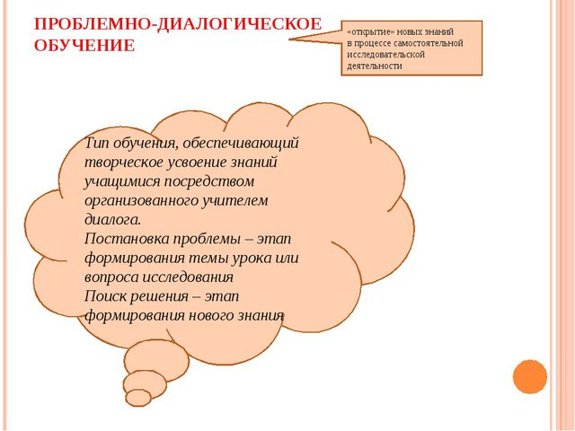 ПРОБЛЕМНО-ДИАЛОГИЧЕСКОЕ ОБУЧЕНИЕ «открытие» новых знаний в процессе самостоят...