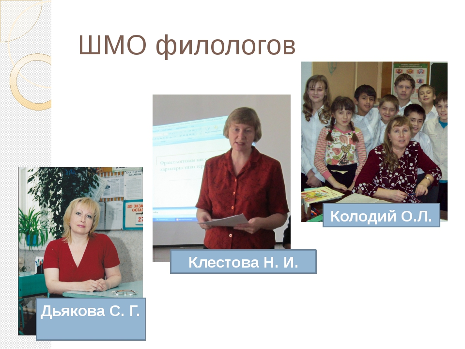 . Колодий О.Л. Клестова Н. И. Дьякова С. Г. ШМО филологов