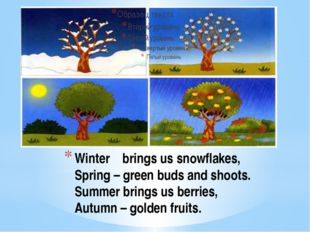 Winter brings us snowflakes, Spring – green buds and shoots. Summer brings us