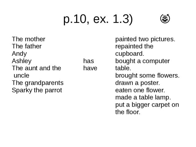 p.10, ex. 1.3) The mother The father Andy Ashley The aunt and the uncle The g...