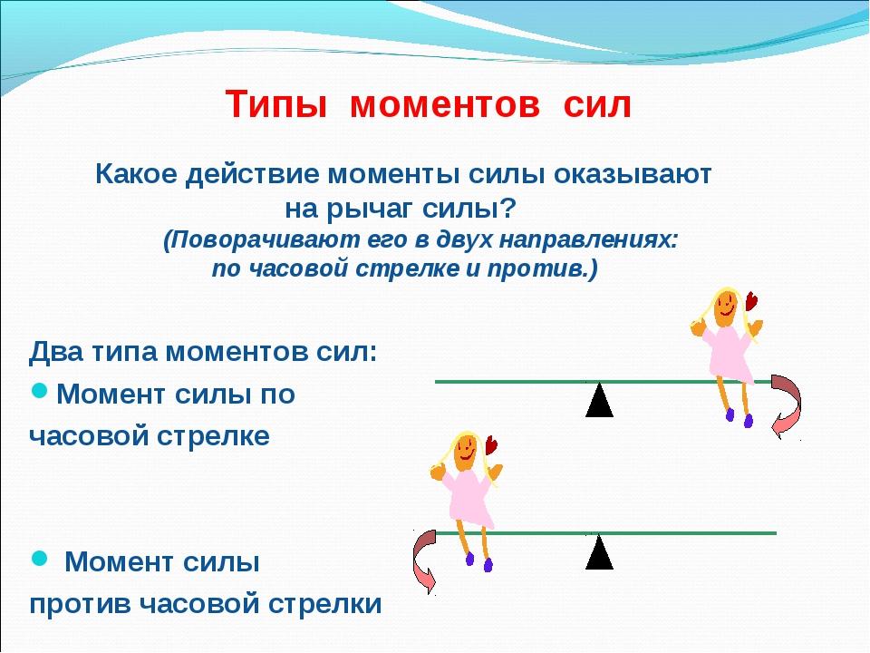 Типы моментов сил Два типа моментов сил: Момент силы по часовой стрелке Момен...