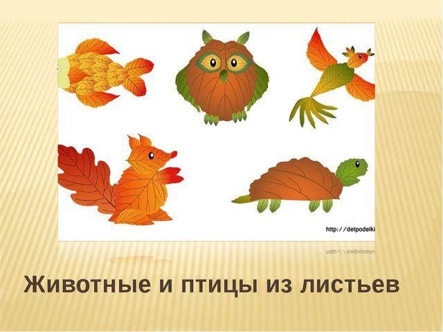 Животные и птицы из листьев