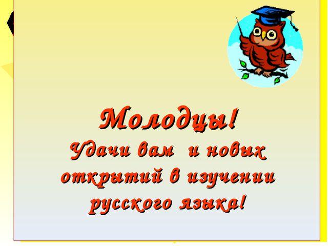 Молодцы! Удачи вам и новых открытий в изучении русского языка!