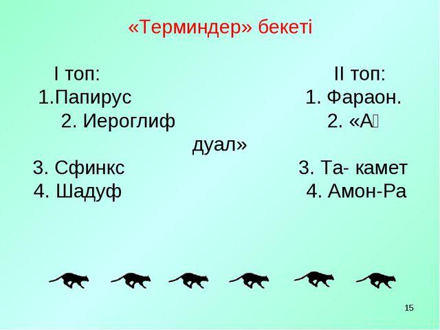 «Терминдер» бекеті І топ: ІІ топ: 1.Папирус 1. Фараон. 2. Иероглиф 2. «Ақ дуа...