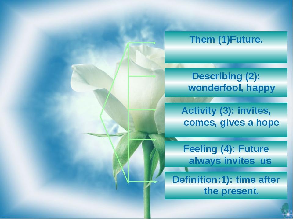 Them (1)Future. Describing (2): wonderfool, happy Feeling (4): Future always...