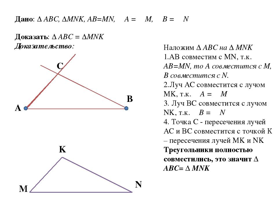 Дано: ∆ ABC, ∆MNK, AB=MN, ∠A = ∠M, ∠B = ∠N Доказать: ∆ ABC = ∆MNK Доказательс...