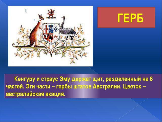 ГЕРБ Кенгуру и страус Эму держат щит, разделенный на 6 частей. Эти части – г...