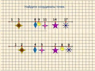 1 1 Найдите координаты точек. 3 8 9 11 14 17 2 4 5 7 8 9
