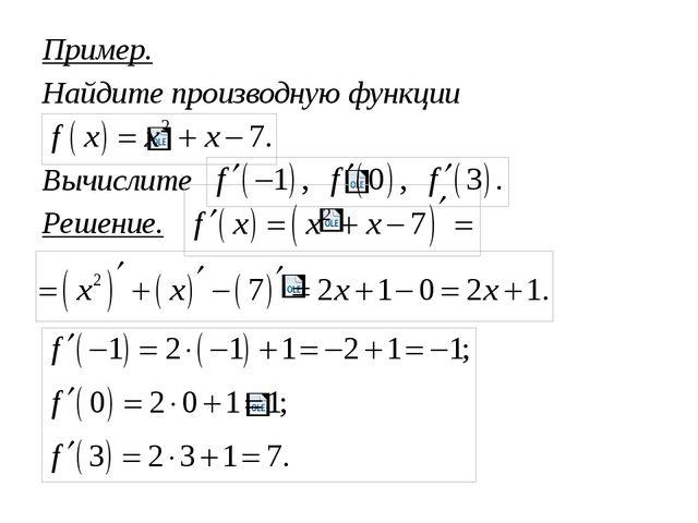 Пример. Найдите производную функции Вычислите Решение.