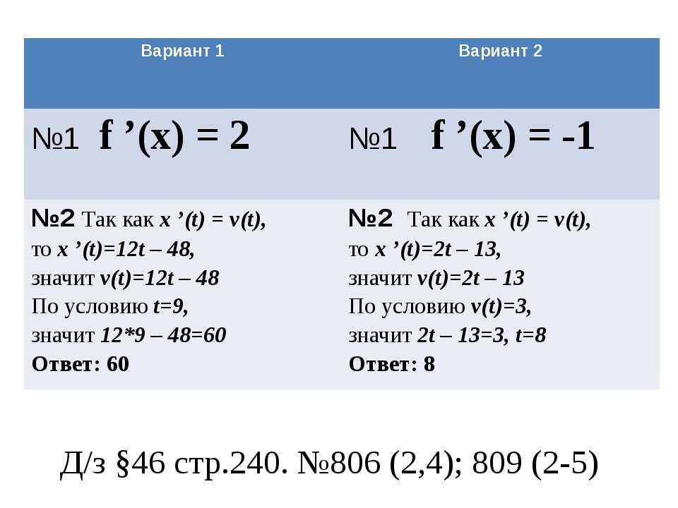 Д/з §46 стр.240. №806 (2,4); 809 (2-5) Вариант 1 Вариант 2 №1f '(x)= 2 №1f '(...