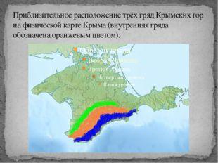 Приблизительное расположение трёх гряд Крымских гор на физической карте Крыма