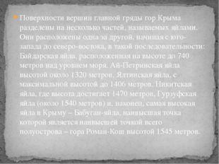 Поверхности вершин главной гряды гор Крыма разделены на несколько частей, наз
