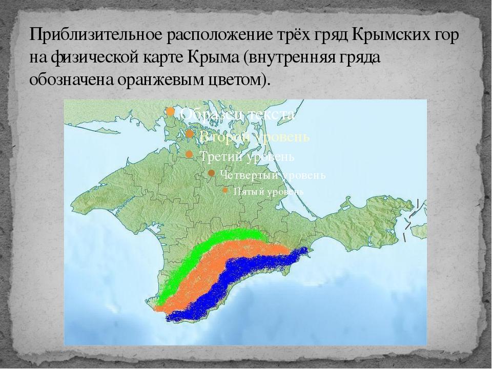 Приблизительное расположение трёх гряд Крымских гор на физической карте Крыма...