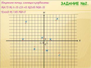 Покажите точки, имеющие координаты: А(4;7); В(-3;-2); С(5;-4); К(2;0); М(0;-3