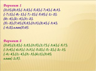 Вариант 1 (3;3),(0;3),(-3;2),(-5;2),(-7;4),(-8;3), (-7;1),(-8;-1),(-7;-2),(-5