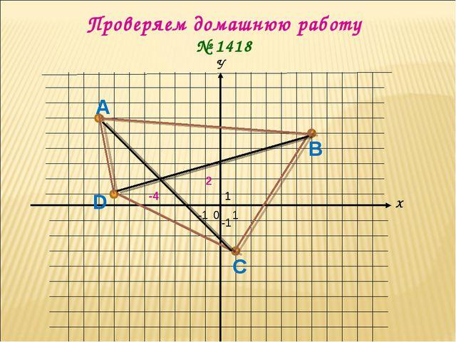 Х У 0 1 1 -1 -1 Проверяем домашнюю работу № 1418 А В С D -4 2