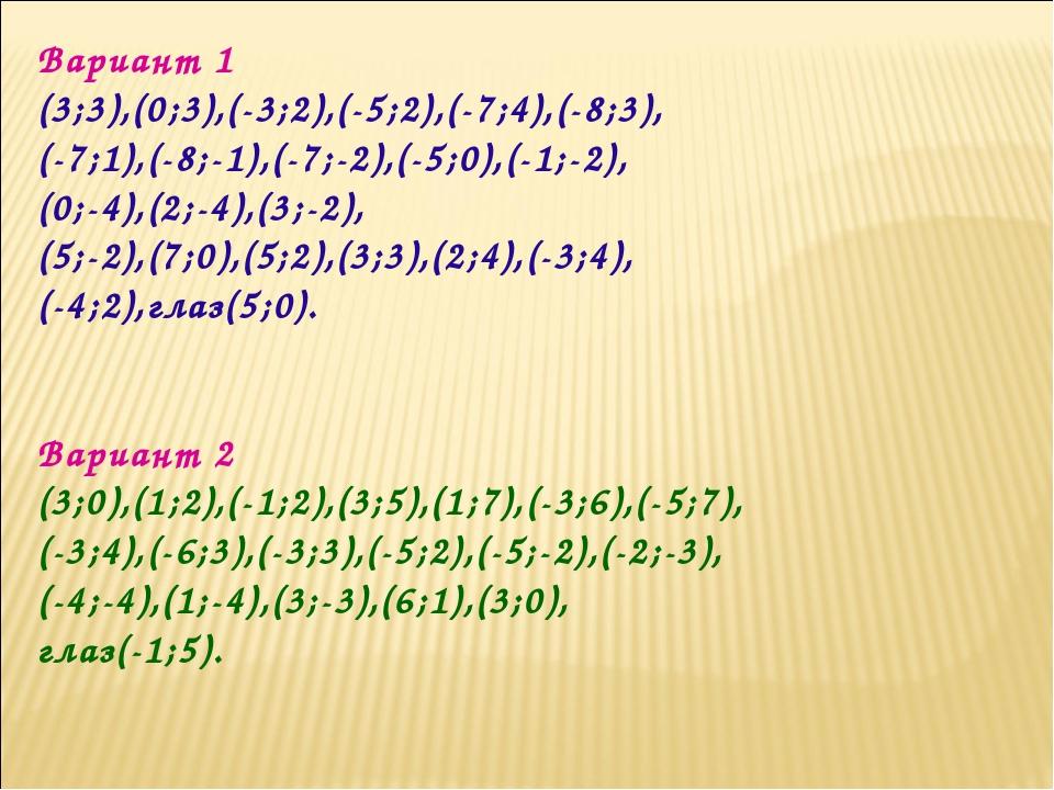 Вариант 1 (3;3),(0;3),(-3;2),(-5;2),(-7;4),(-8;3), (-7;1),(-8;-1),(-7;-2),(-5...