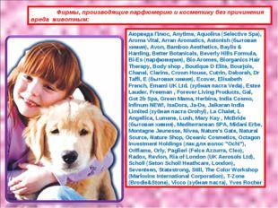 Фирмы, производящие парфюмерию и косметику без причинения вреда животным: Аю