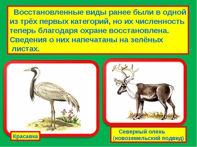 Восстановленные виды ранее были в одной из трёх первых категорий, но их числ...