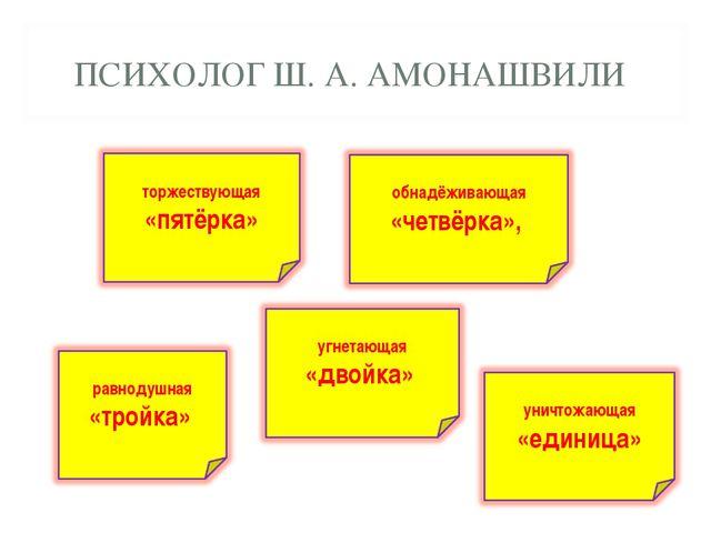 ПСИХОЛОГ Ш. А. АМОНАШВИЛИ
