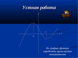 Устная работа -2 3 По графику функции определить промежутки монотонности х у