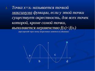 Точка х=х0 называется точкой максимума функции, если у этой точки существует