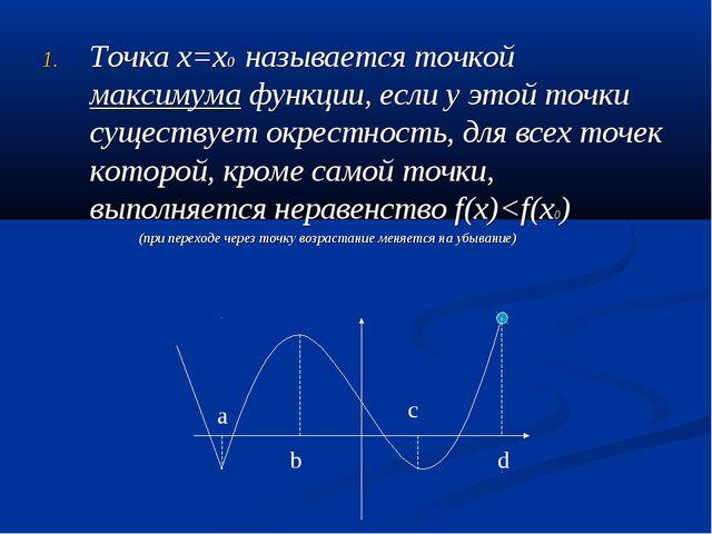 Точка х=х0 называется точкой максимума функции, если у этой точки существует...