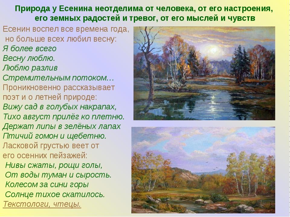 Природа у Есенина неотделима от человека, от его настроения, его земных радос...
