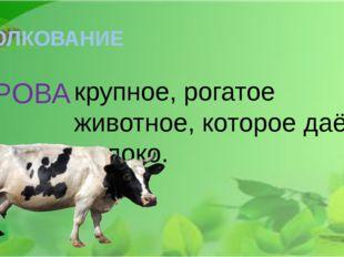ТОЛКОВАНИЕ КОРОВА - крупное, рогатое животное, которое даёт молоко.