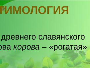 ЭТИМОЛОГИЯ От древнего славянского слова корова – «рогатая»