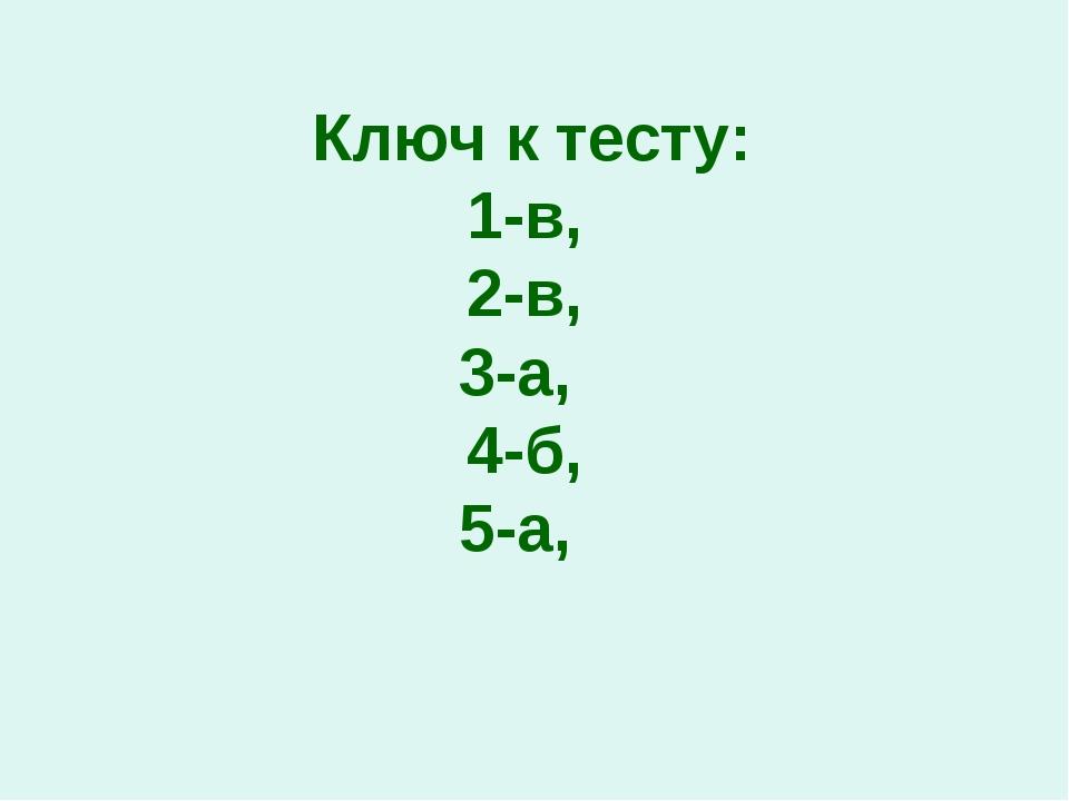 Ключ к тесту: 1-в, 2-в, 3-а, 4-б, 5-а,