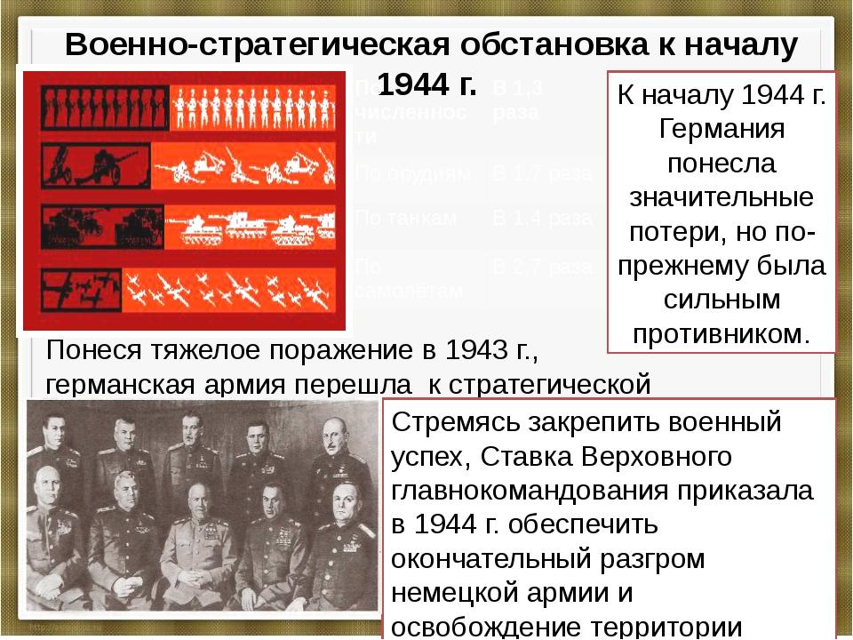Военно-стратегическая обстановка к началу 1944 г. К началу 1944 г. Германия...