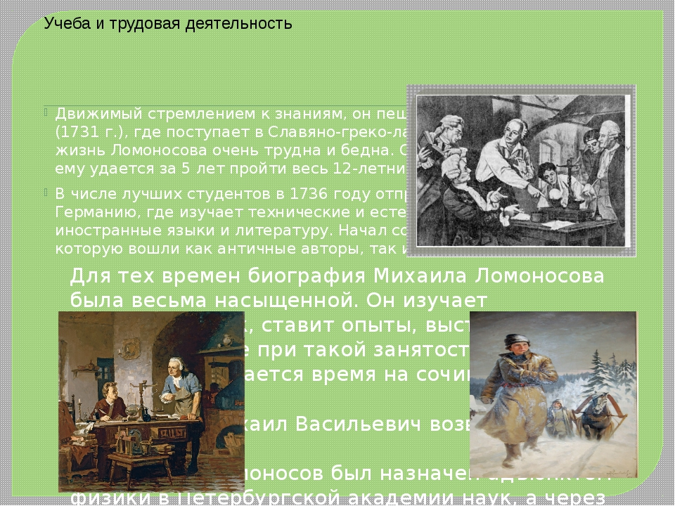 Для тех времен биография Михаила Ломоносова была весьма насыщенной. Он изучае...