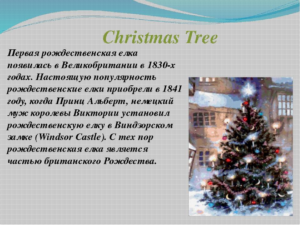 Christmas Tree Первая рождественская елка появилась в Великобритании в 1830-х...