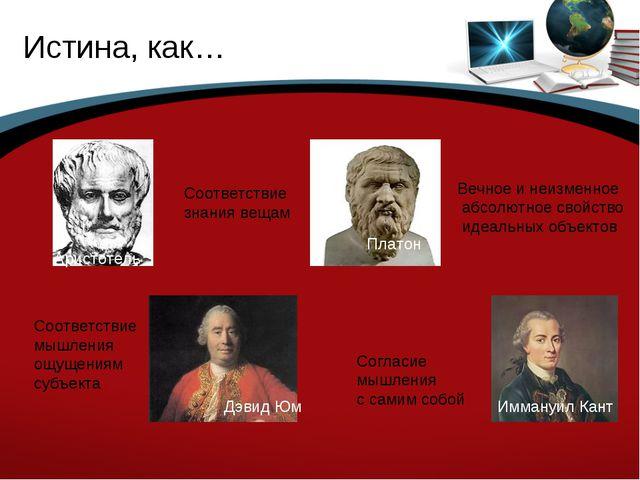 Истина, как… Аристотель Соответствие знания вещам Платон Вечное и неизменное...